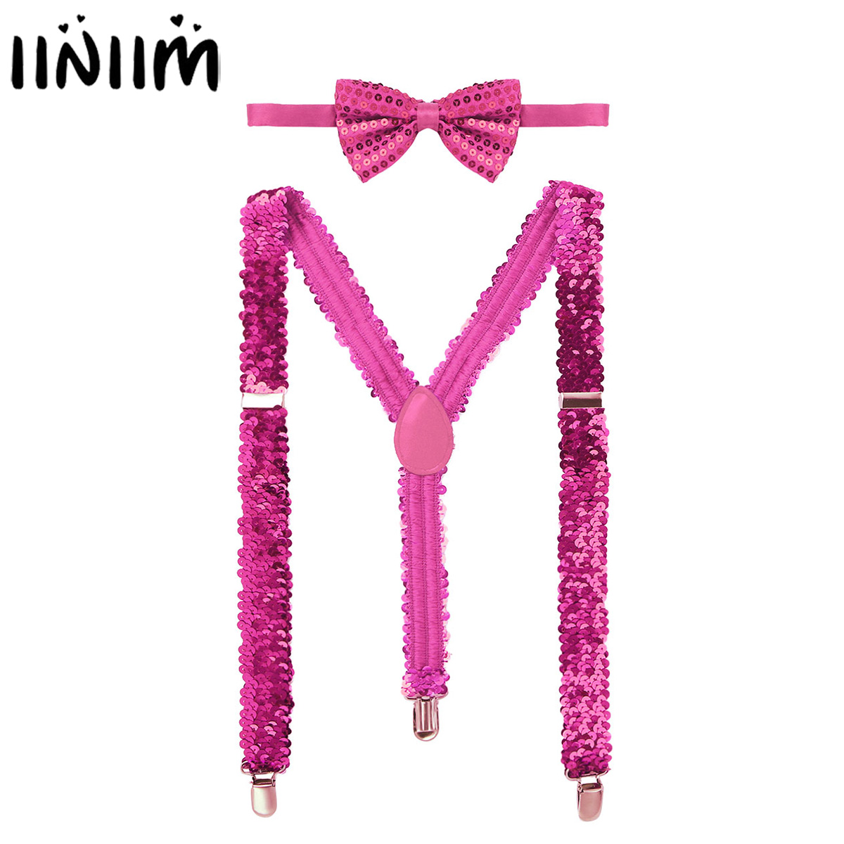Iiniim Womens Shiny Sequins Elastic Y Shape Adjustable Braces Pant Suspenders Straps With Bow Tie For Cosplay Party Clubwear