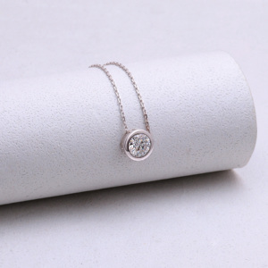Image 4 - DovEggs 14K 585 White Gold Center 2ct 8mm F  Color Moissanite Pendant Necklace for Women Gold Necklace