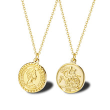 Carved Gold Coin Pendant Necklace for Women Girls Men Stainless Steel Simple Round Chain Goddess Worship Celebrity Medal Jewelry