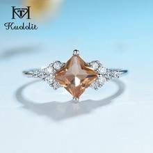 Kuololit Zultanite חן טבעת לנשים מוצק 925 כסף נוצר צבע שינוי כיכר Diaspore אבנים תכשיטים