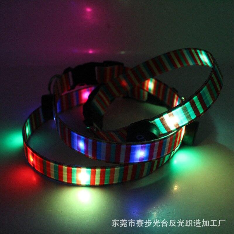 Pet Supplies Rainbow Ribbon Light Belt-USB Charging LED Luminous Dog Collar