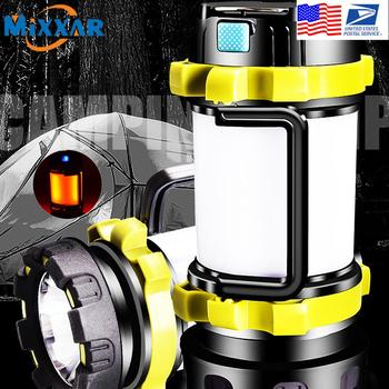 Dropshipping Portable LED Camping Lantern Work Light Outdoor Tent Light Handheld Flashlight USB Rechargeable Port Spotlight