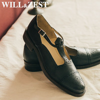 Will&Zest Genuine Leather Women Oxford Comfort School Shoes Wide Feet Low Heels Summer New Polka Dot Mary Jane Flats Sport