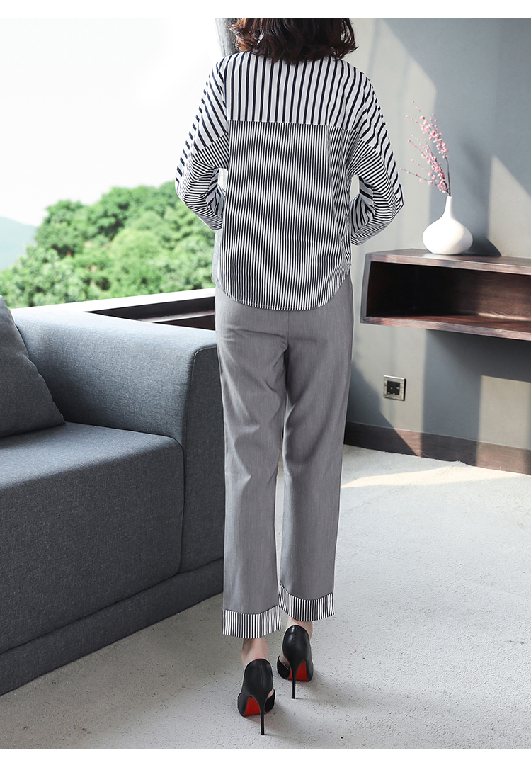 2019 Autumn Grey Striped Office Two Piece Sets Outfits Women Plus Size Long Sleeve Shirts And High Waist Pants Elegant OL Suits 34