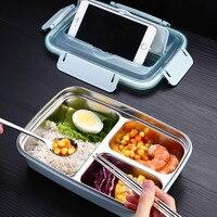 304 Edelstahl Bento Lunch Box Anti-verbrühungen Tragbare Student Erwachsene Isolierte 3 Grid Schnelle Lebensmittel Platte Mit Stäbchen löffel