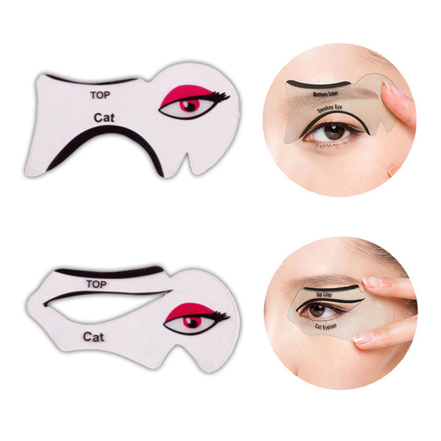 2pcs/lot Eyeliner Stencil Kit Model for Eyebrows guide template Shaping Maquiagem eye shadow frames card makeup Eye Brow tools
