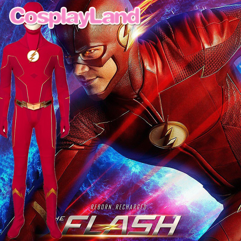 <font><b>The</b></font> <font><b>Flash</b></font> Season 6 <font><b>Cosplay</b></font> Barry Allen Costume Outfit <font><b>Flash</b></font> Jumpsuit Halloween Carnival Party Adult Uniform <font><b>Boots</b></font> Custom Made image