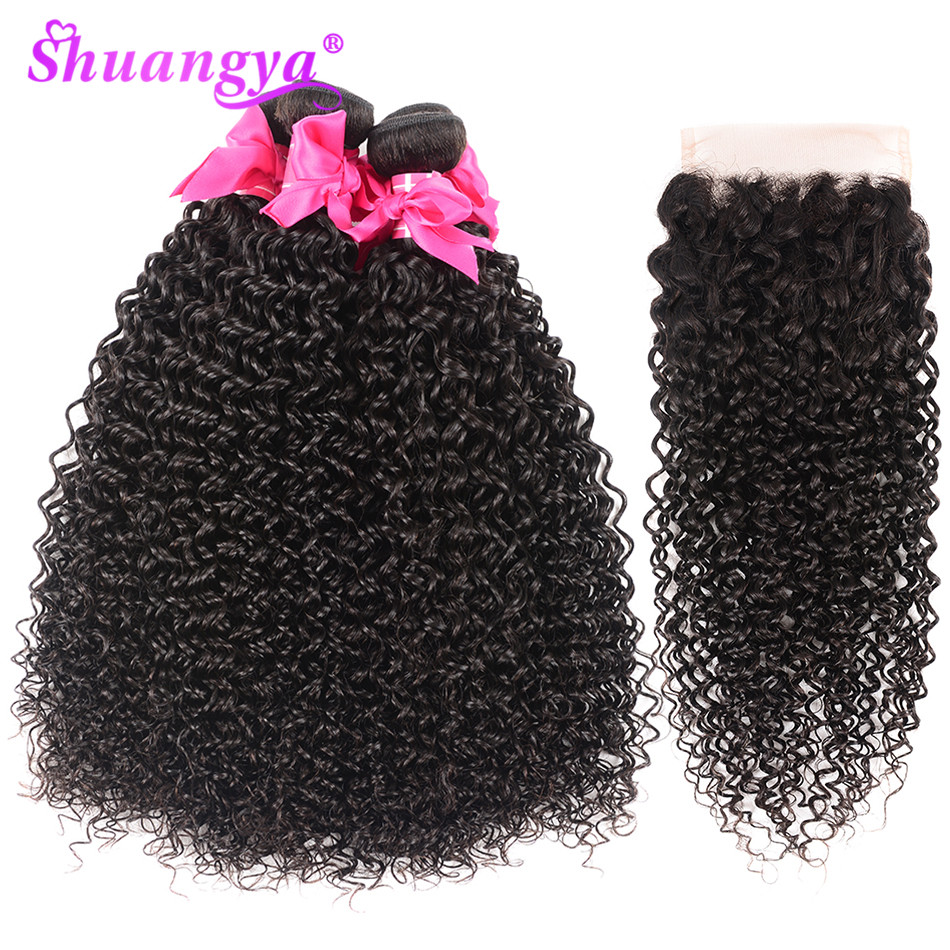 Shuangya Hair Bundles With Closure Remy Hair Human Hair Bundles With Closure Malaysian Curly Bundles Closure