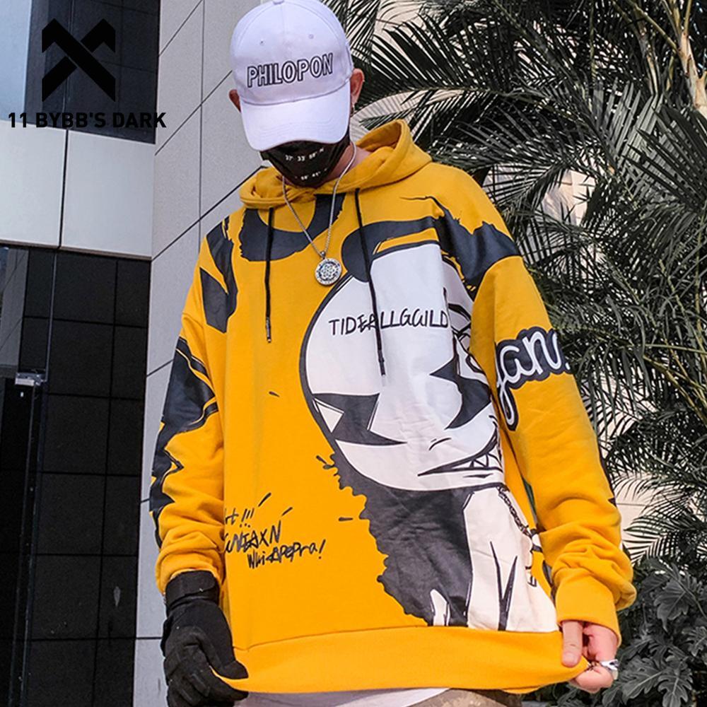 11 BYBB'S DARK Funny Cartoon Print Pullover Men 2020 Autumn Harajuku Streetwear Hooded Sweatshirts Hip Hop Casual Cotton Hoodies
