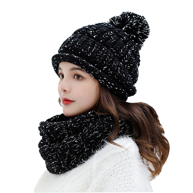 Winter Accessories 2/Set Hat And Scarf For Women Plus Velvet Knit Lic Scarves Beanies For Girl Solid Warm Wrap Collar Cap Stole