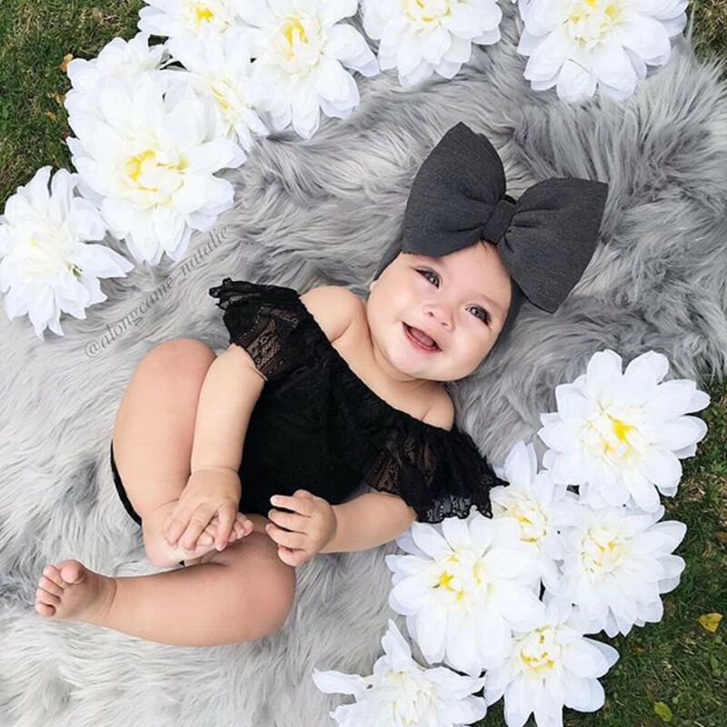 Pudcoco Newborn Baby Girl Clothes Set Kids Lace Black Off Shoulder Bodysuit Shirt + Headband Summer Infant Outfit