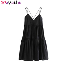 Women Sexy Sleeveless Mini Dress Deep V Neck Backless Spaghetti Strap Pockets Ladies Party Dress Stylish Knee Length Dresses stylish plunging neck sleeveless checked women s mini dress