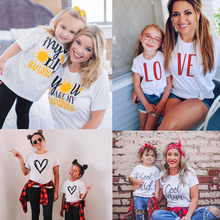 Shirt Matching Mom Daughter Family-Look Lovely Summer-Style Son Fashion 1pc Tee Funny
