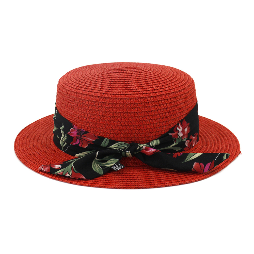 Straw Hat With Ribbon Scarf Women Summer Sun Beach Panama Flat Hats Holiday Outdoor Accessory For Lady