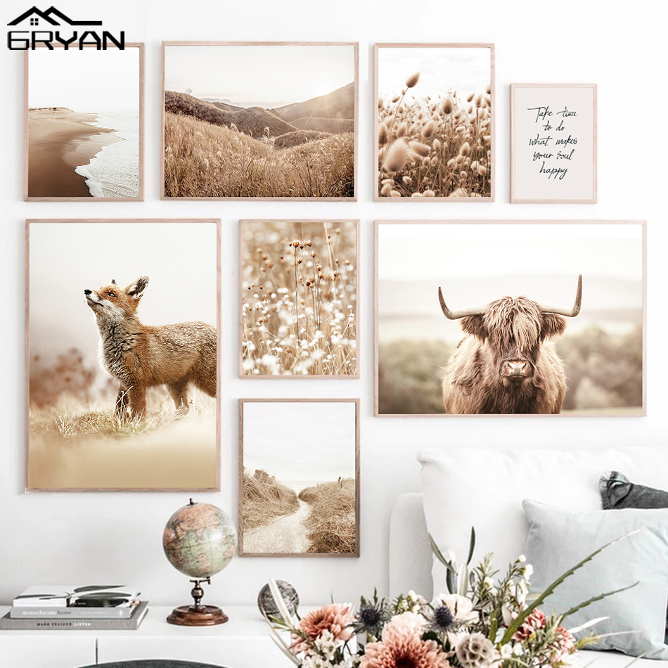 Nordic Plant Animal Landscape Poster Cow Red Fox Canvas Print Painting Reed Kapok Ocean Botanical Picture Living Room Home Decor