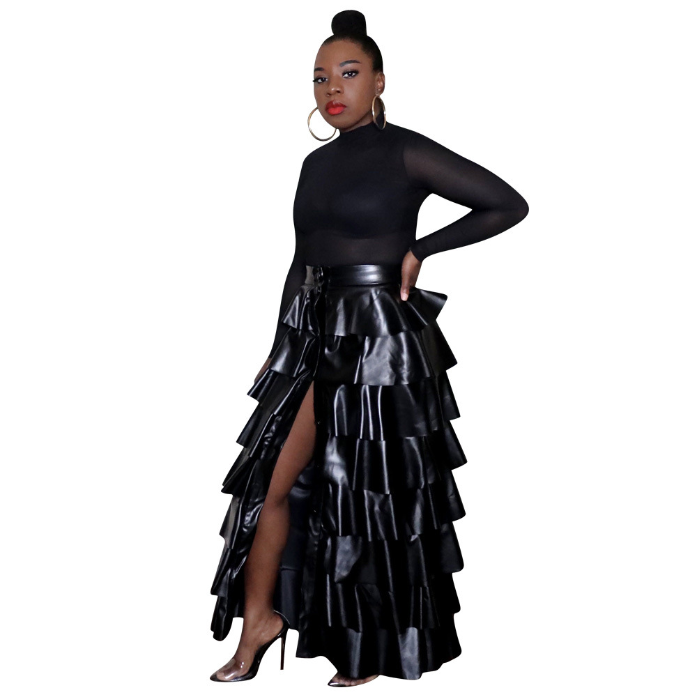 Echoine Black Leather PU Ruff Long Skirt High Waist Jupe Femme Pleated Skirt Elegant Sexy Club Outfits Party Maxi SKirts