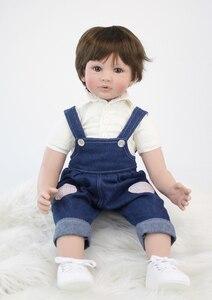 "Image 3 - 60cm Reborn Toddler Boy Doll Silicone Vinyl Limbs 24"" Cute Baby Doll Cloth Body Birthday Gift Girls Play House Boneca"