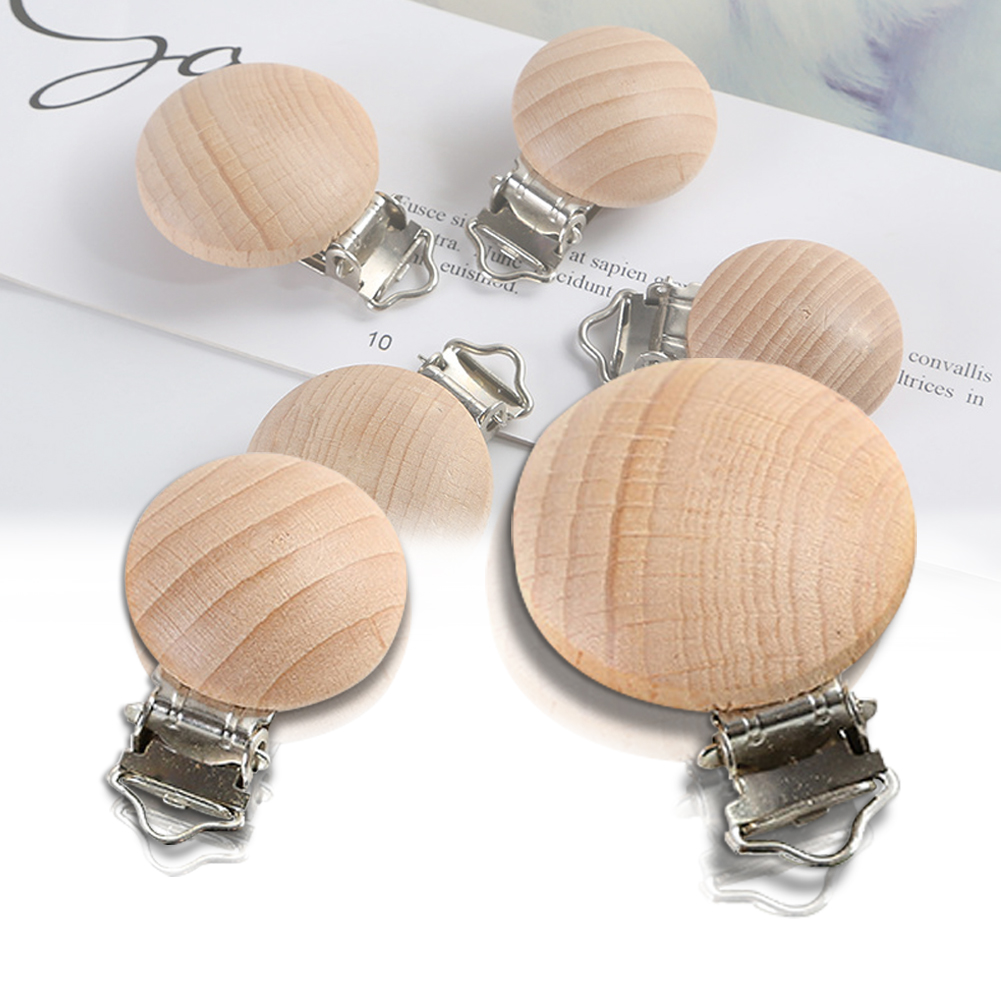 5 Pcs Safe Nursing DIY Holder Infant Beech Wood Pacifier Clip Feeding Baby Clasps Round Accessories Non Toxic Solid Soother