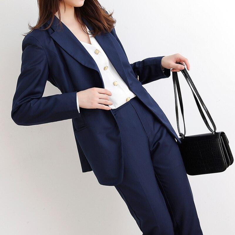 Autumn Elegant Women Blazer two Piece Sets Notched Collar Jacket & High Waist Pants Work Pant Suit Business Female JK403