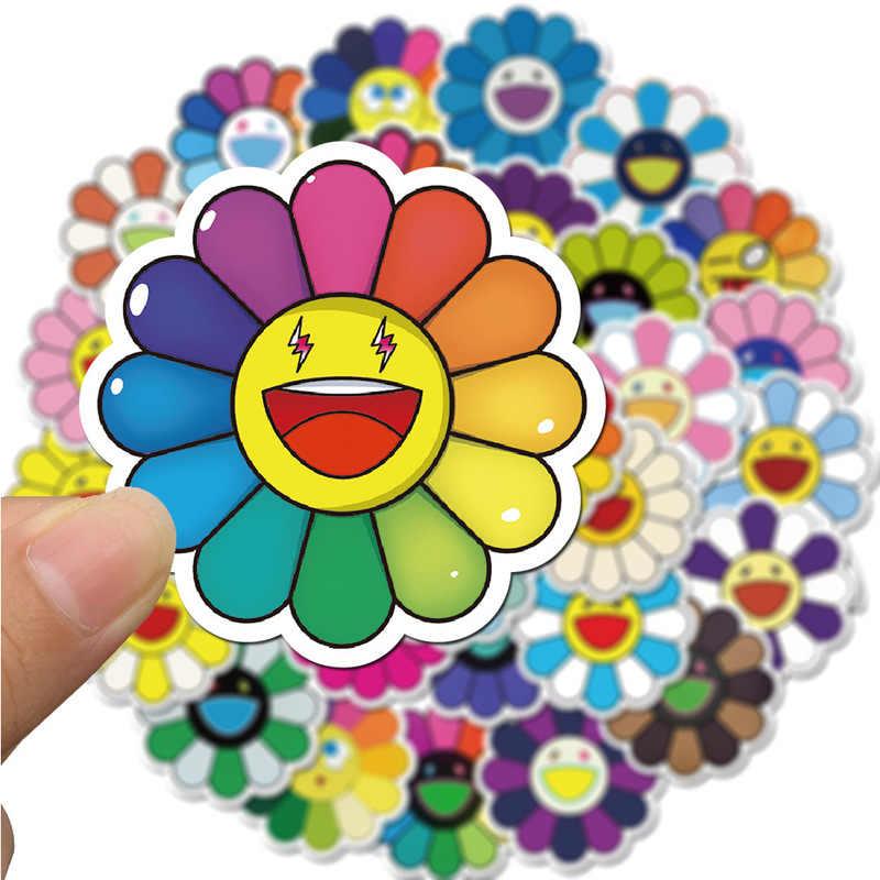 Etiqueta engomada del arte floral del sol, 40 Uds., pegatina de la Caja Li de viaje, decoración de guitarra del monopatín de la computadora, etiqueta engomada impermeable