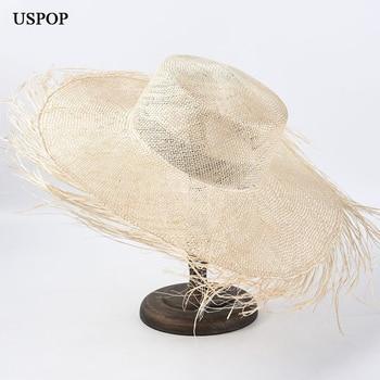 USPOP, sombrero de paja natural de moda áspera para mujer, sombrero de paja de sisal ligero para mujer, sombreros de playa de ala ancha