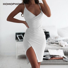 HOMOPHONY Summer Sexy Dress Deep V Neck Dress Women Side Split Mini Slim Bodycon Dress Party Women Dress Women Clothing 2020