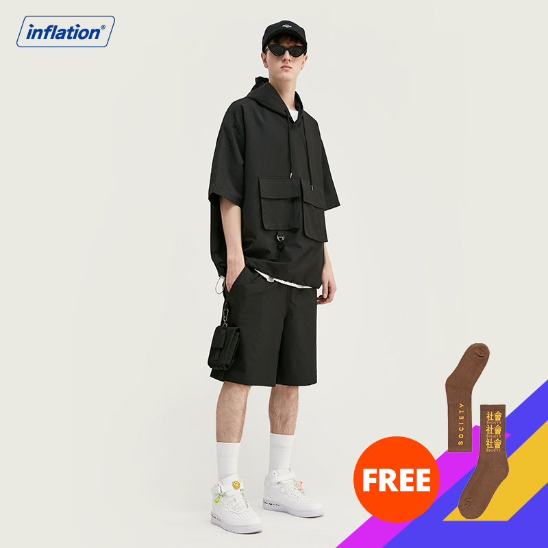 INFLATION Outdoor Tracksuit Men термобелье Ropa Hombre Polyester Short Sleeve Men Hooded Tshirt Elastic Drawstring Men Shorts