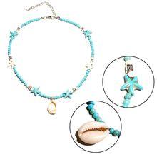 Bohemia Nature Starfish Shell Pendant  Beaded Choker Necklace for Women