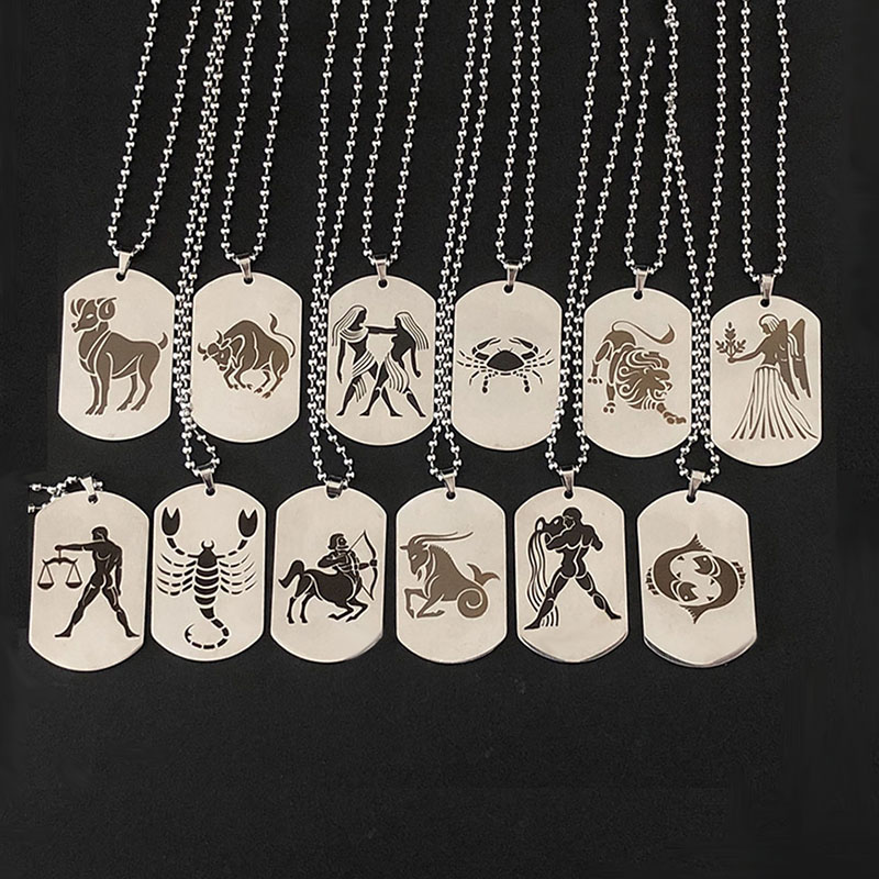 Stainless Steel 12 Horoscope Zodiac Sign Silver Color Pendant Necklace Aries Leo Wholesale Dropshipping 12 Constellation Jewelry