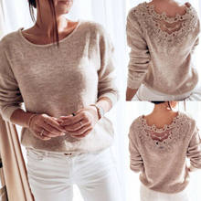 Autumn Womens Clothes Sexy Elegant Lace Stitching Backless Pullover Sweater Long Sleeve Jumpers Top Knitted Sweater Bodycon(China)