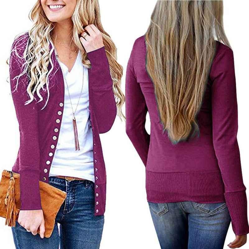 Retro sonbahar kış bayan uzun kollu V boyun Snap düğmesi gevşek hırka dış giyim triko kazak triko ceket artı boyutu sıcak