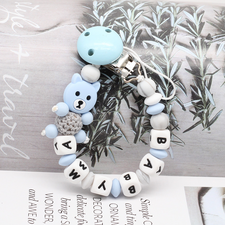 1PC Cartoon Bear Private Custom Personalise Baby Name Pacifier Clips Chain Teething BPA Free Dummy Baby Teether