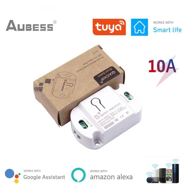 Aubess Tuya WiFi חכם מתג טיימר 10A DIY אלחוטי מתגי חכם בית אוטומציה תואם עם Alexa Google בית חכם חיים