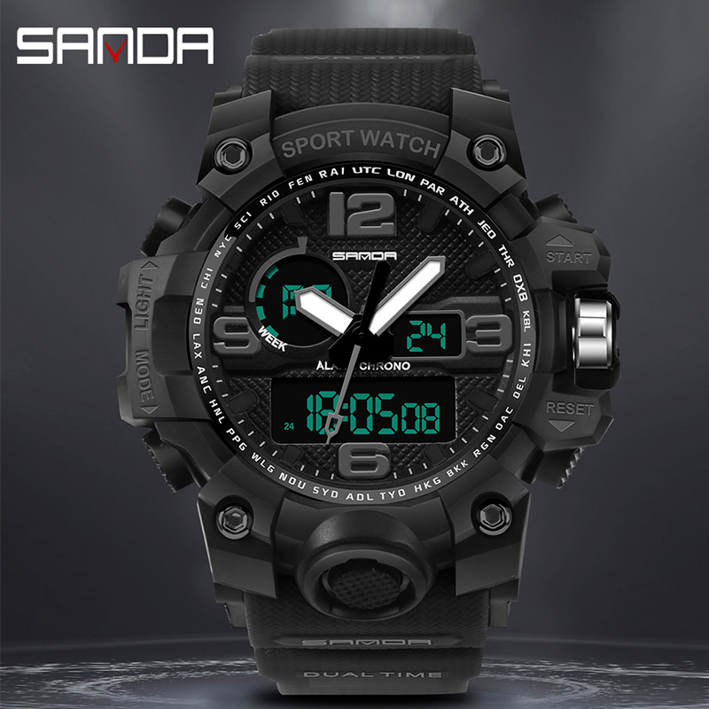 SANDA Sport Watch Men G Style 50m Waterproof Military S Shock Digital Quartz Wrist Watches For Men Clock Relogio Masculino 2019