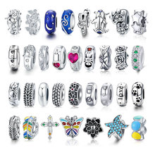 bamoer Silver 925 Jewelry Stoppers Charm fit European Luxury Bracelet for Women Charms with Silicone Beads BSC112