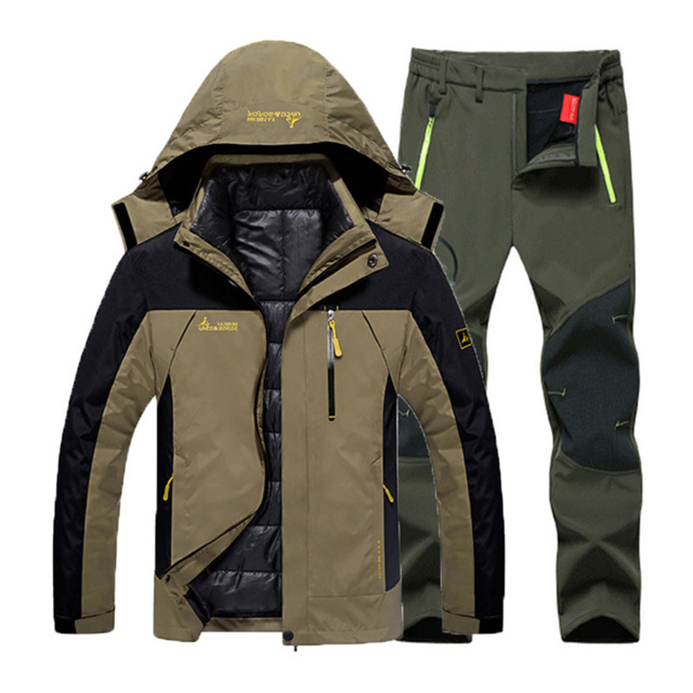 Winter men's Hiking jacket & Hiking Pants 3 in 1 Set Down liner Thermal Waterproof coat Outdoor fishing hunting sports Tracksuit