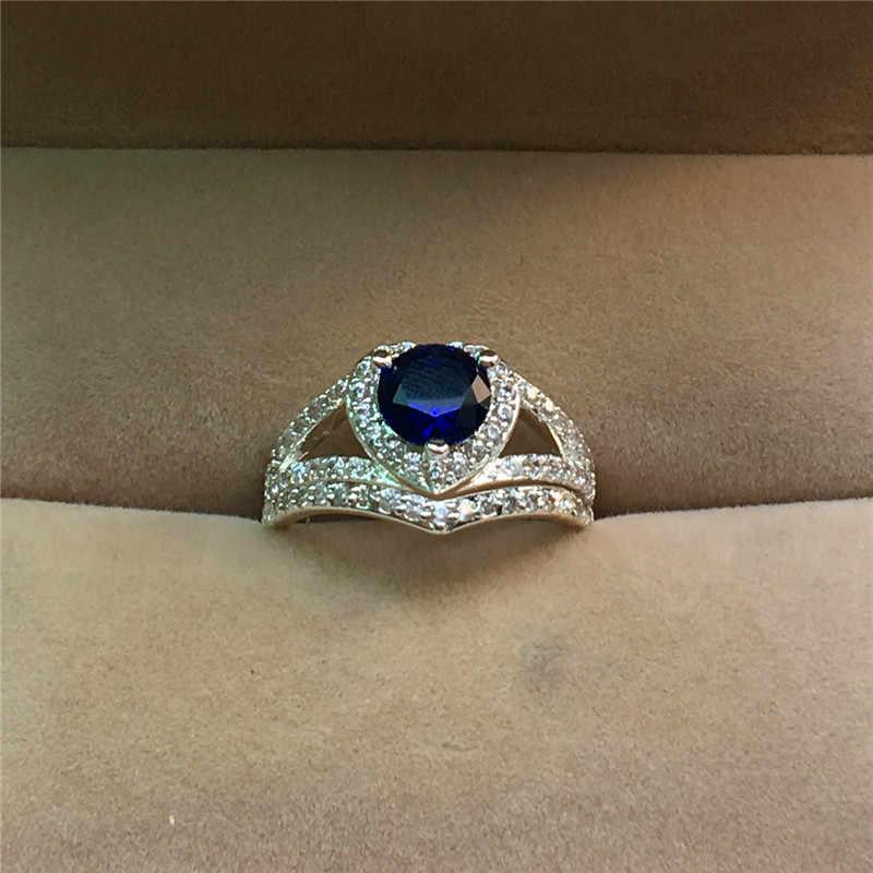 Luxo Feminino Branco Azul Zircão Pedra Conjunto Anel Vintge 925 Anel De Casamento De Prata Amor Coração Rodada Anéis de Noivado Para As Mulheres