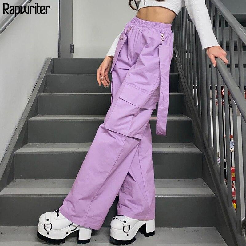 Rapwriter Elastic High Waist Purple Straight Pants Women 2020 Fashion Streetwear Cargo Pants Harajuku Loose Trousers Pocket