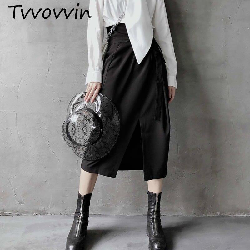 TVVOVVIN taille haute Slim Split noir jupe femmes mode irrégulière Bandage Midi jupe vêtements 2019 une ligne correspond à tout automne C602