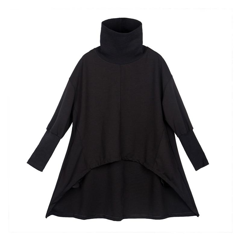 [EAM] Loose Fit Black Irregular Sweatshirt New Turtleneck Long Sleeve Women Big Size Fashion Tide Spring Autumn 2020 1Z320 6