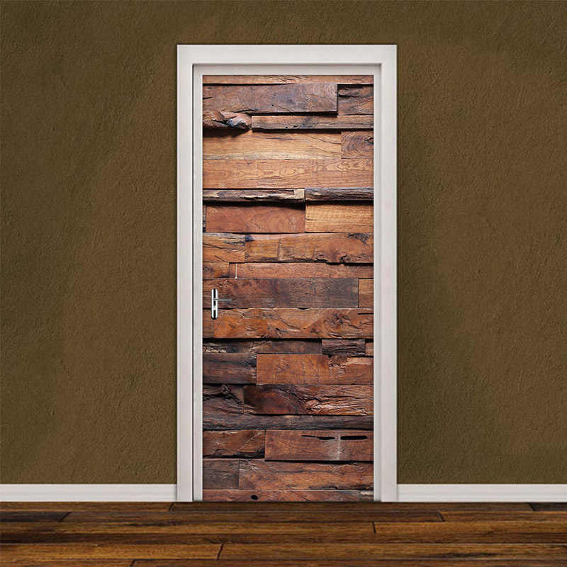 Waterproof Self Adhesive Removable Door Sticker Retro Wood Grain Wallpaper Living Room Bedroom Door Decor Decals Diy Wall Mural Door Stickers Aliexpress