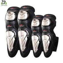 WOSAWE 4Pcs Stainless Steel Adults Motorcycle ATV Motocross Long Elbow Knee Thick Guards Protector Racing KneePads