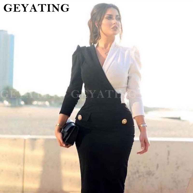 Dubai Black And White Mermaid   Evening     Dress   Long Sleeve V Neck Ladies   Evening     Dresses   Saudi Arabic Women Formal Party Gowns 2019