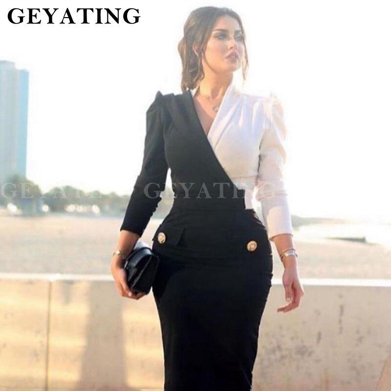 Dubai noir et blanc robe de soirée sirène à manches longues col en V dames robes de soirée femmes saoudiennes arabes robes de soirée formelles 2019