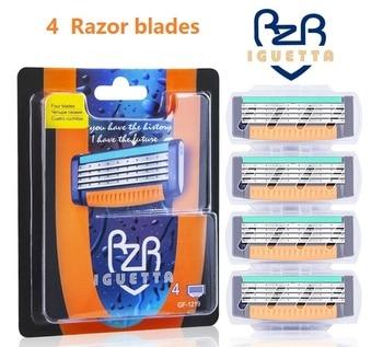 4 pcs / pack. High quality mens Razor blade Facial care shaving cassettes Men blades Compatible gillettee Mache 3