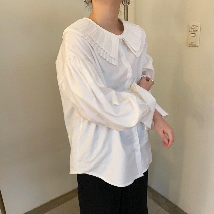 Hb3b39293436244f2a8571cfea80e3d7cv - Spring / Autumn Korean Pilgrim Collar Long Sleeves White Blouse