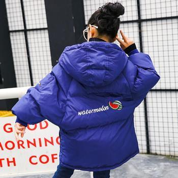 Winter Fashion Children Cotton Coats back letter print Warm Hooded Parka Girls Loose Oversize Outerwear Modis kids jackets Y2333