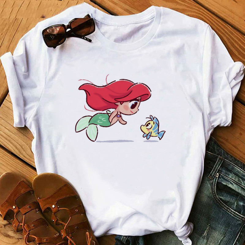 2020 Cute Princess Little Mermaid Funny Cartoon T Shirt Women Harajuku Ullzang T-shirt Graphic 90s Tshirt Kawaii Anime Top Tees