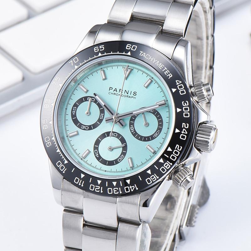 Parnis, 39 мм, серебристый чехол, кварцевые мужские часы с хронографом, браслет из нержавеющей стали, сапфировое стекло, мужские часы, relojes hombre 2019