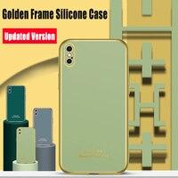 Lujosas fundas de silicona con marco dorado para iPhone XR SE2020 11Pro XSMAX 6S 7 8 Plus XS con orificio preciso